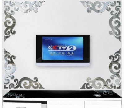 Custom design acrylic sticker wall decorative mirror MS-045