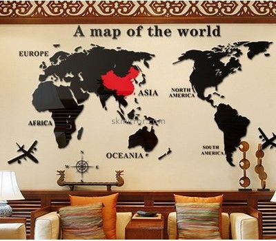 Wholesale acrylic world map wall sticker mini mirror self adhesive wall mirror decoration stickers MS-125