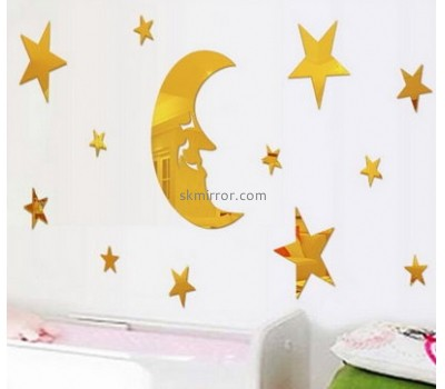 Customized acrylic ikea wall mirror sticker mirror decorative wall stickers cheap price 3d floor sticker MS-172