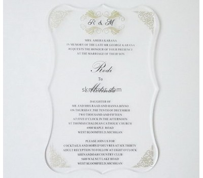 Hot selling acrylic perspex wedding invitations clear acrylic invitations laser cut wedding invitations wholesale MI-007