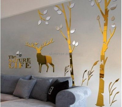 Mirror factory customize decorative mirror tree stickers for walls MS-827