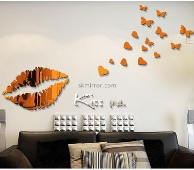 Decorative mirror manufacturers customized acrylic bird mirror wall decor stickers MS-894