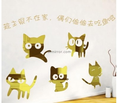 Decorative mirror manufacturers customized cat wall stickers decals for bedroom MS-956
