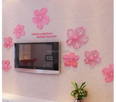Decorative mirror manufacturers customized pink wall flower stickers MS-965