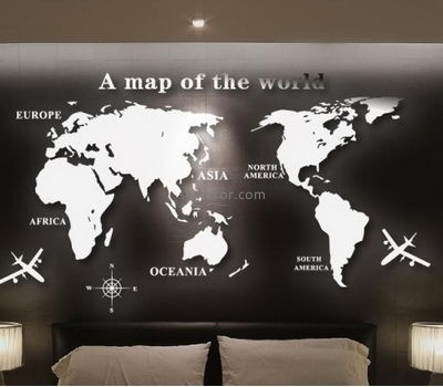 Mirror manufacture customized acrylic mirror wall map stickers MS-992