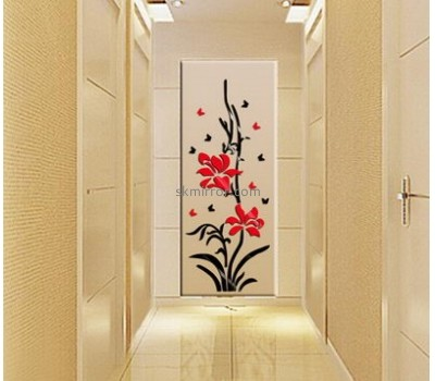Mirror factory customized acrylic flower wall stickers MS-1048