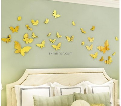Acrylic factory custom mirror butterfly wall decals decor stickers MS-1255