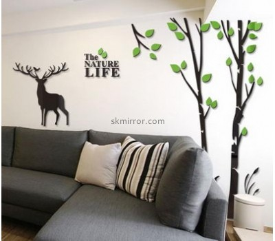 Acrylic plastic supplier custom decal wall mirror stickers MS-1327