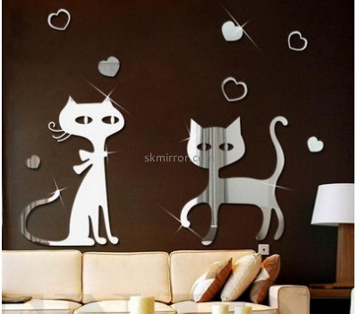 Custom and wholesale acrylic mirror cat wall stickers MS-1554
