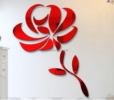 Customized acrylic mirror wall flower stickers MS-1563